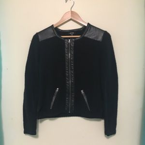 Black zip cardigan sweater faux leather accents